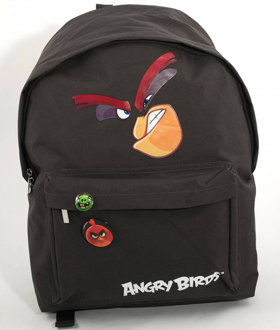 Ghiozdan Gimnaziu Simplu Angry Birds Negru
