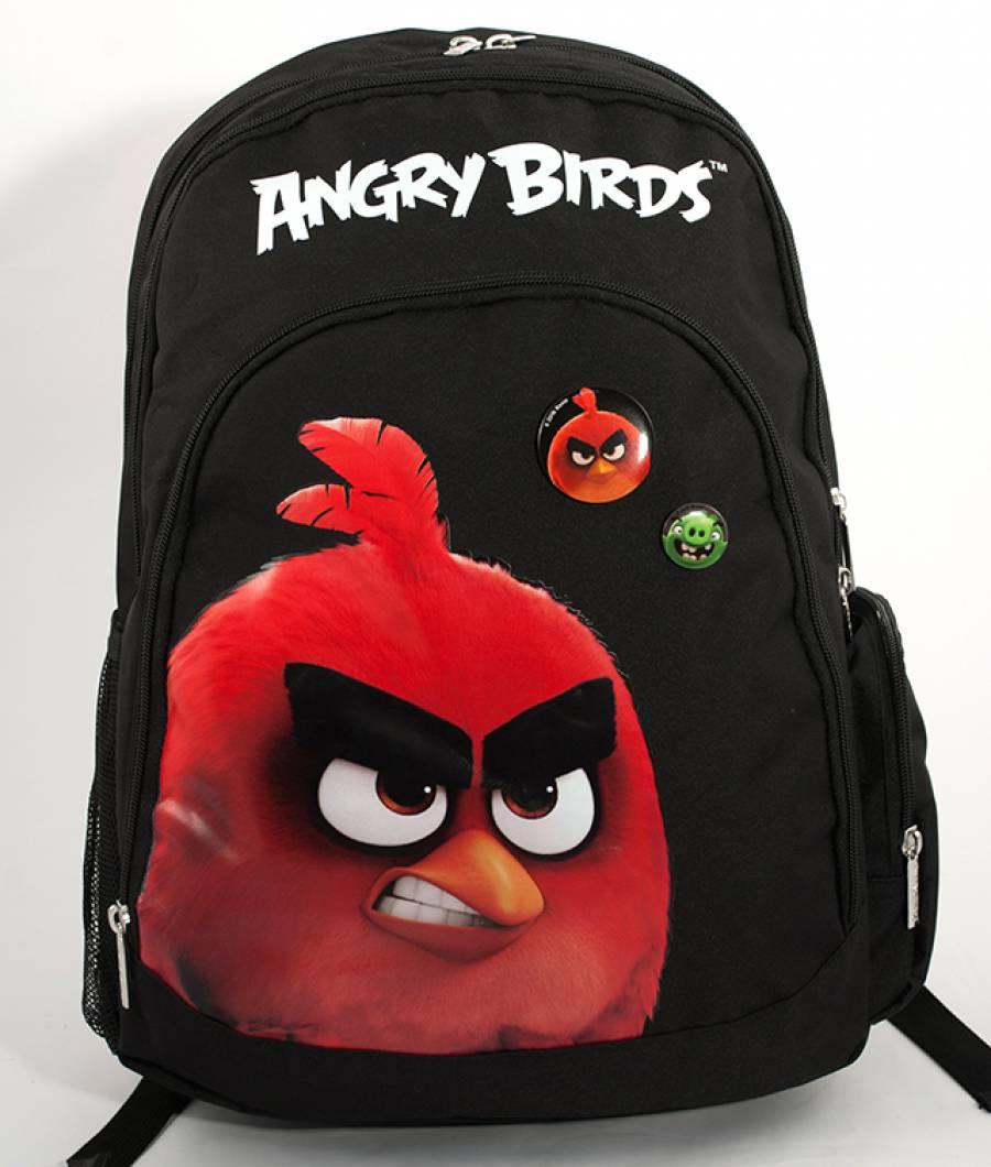 Ghiozdan Gimnaziu Angry Birds Negru cu Rosu