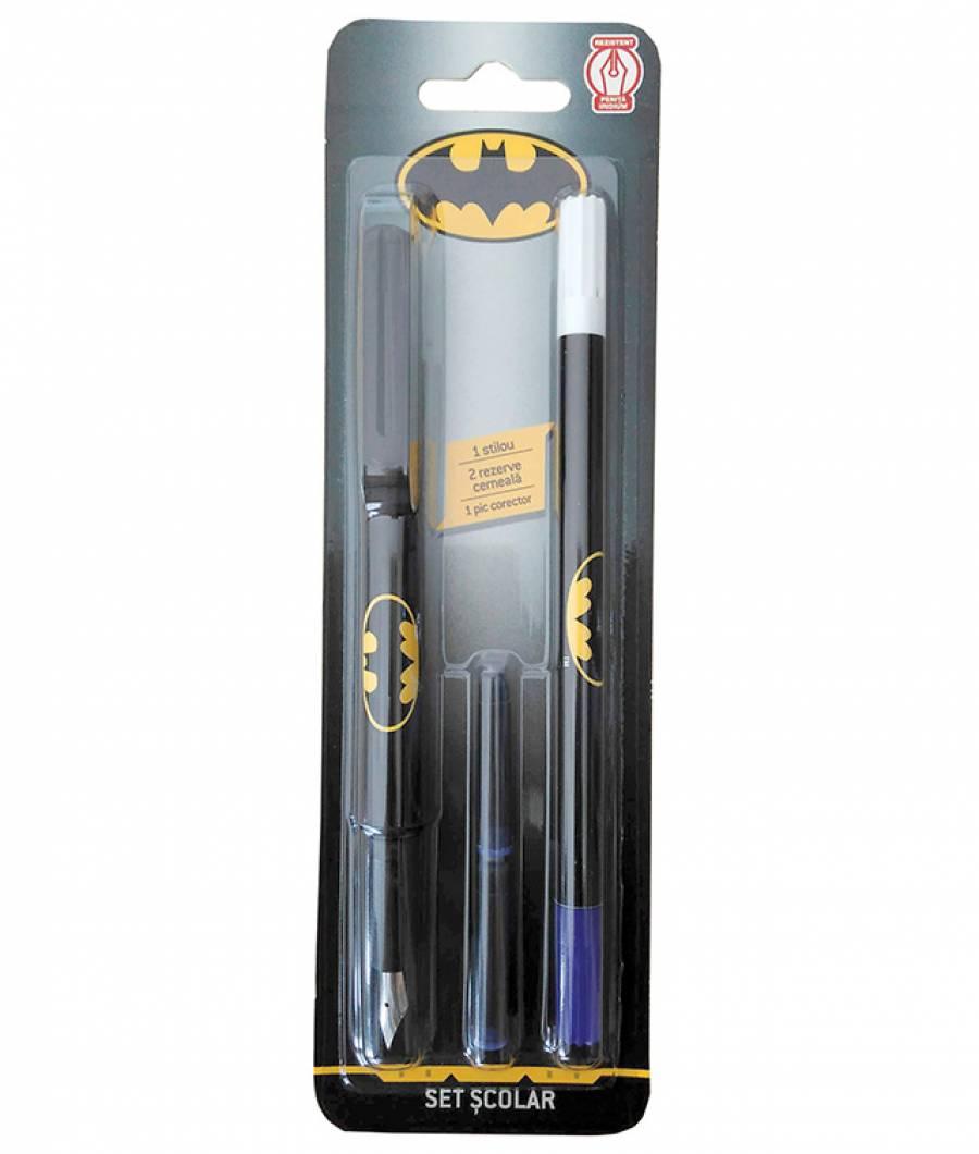 Blister Stilou iridium , 1 corector, 2 rezerve, Batman .
