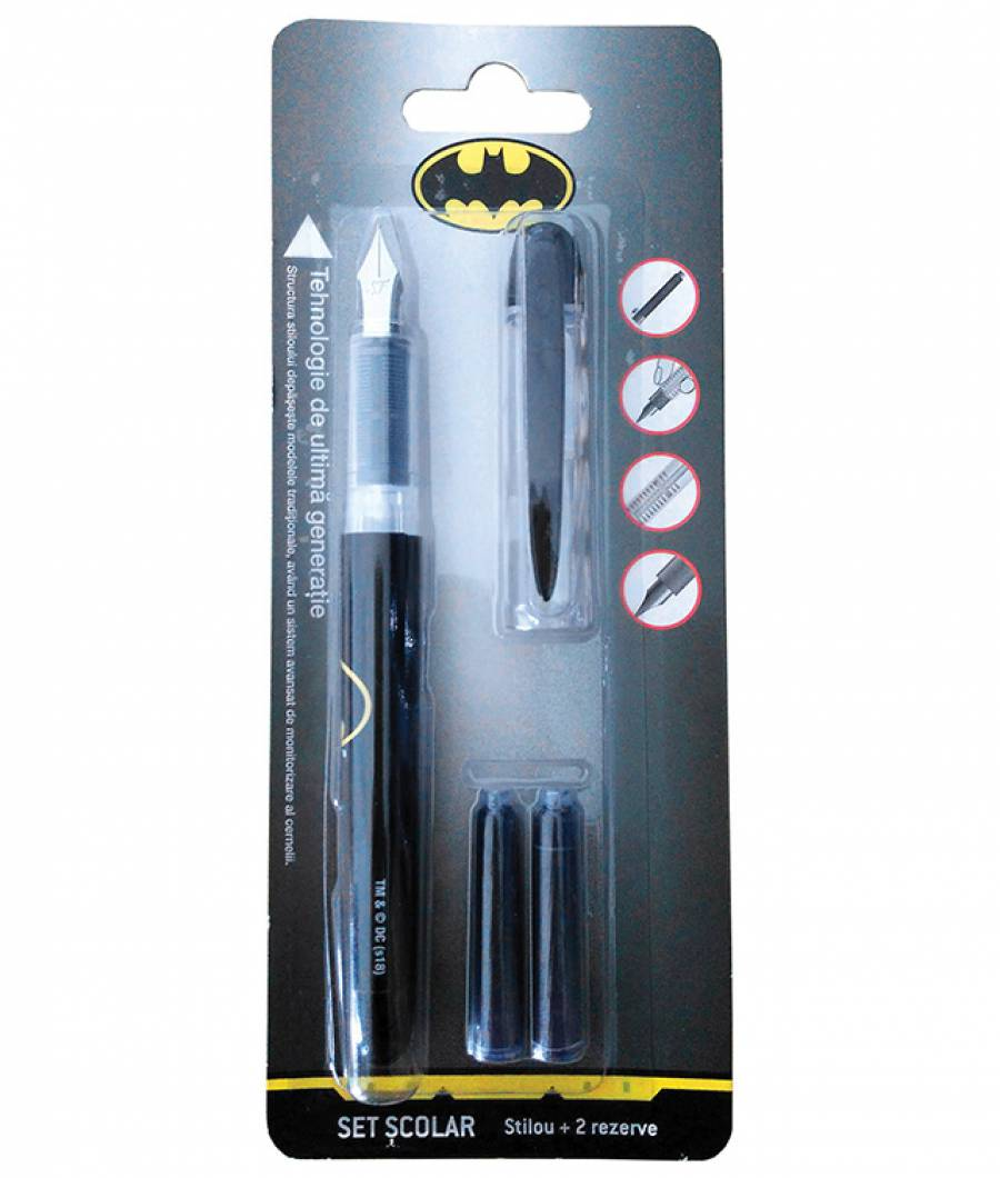 Blister Stilou Basic , cu 2 rezerve, Batman