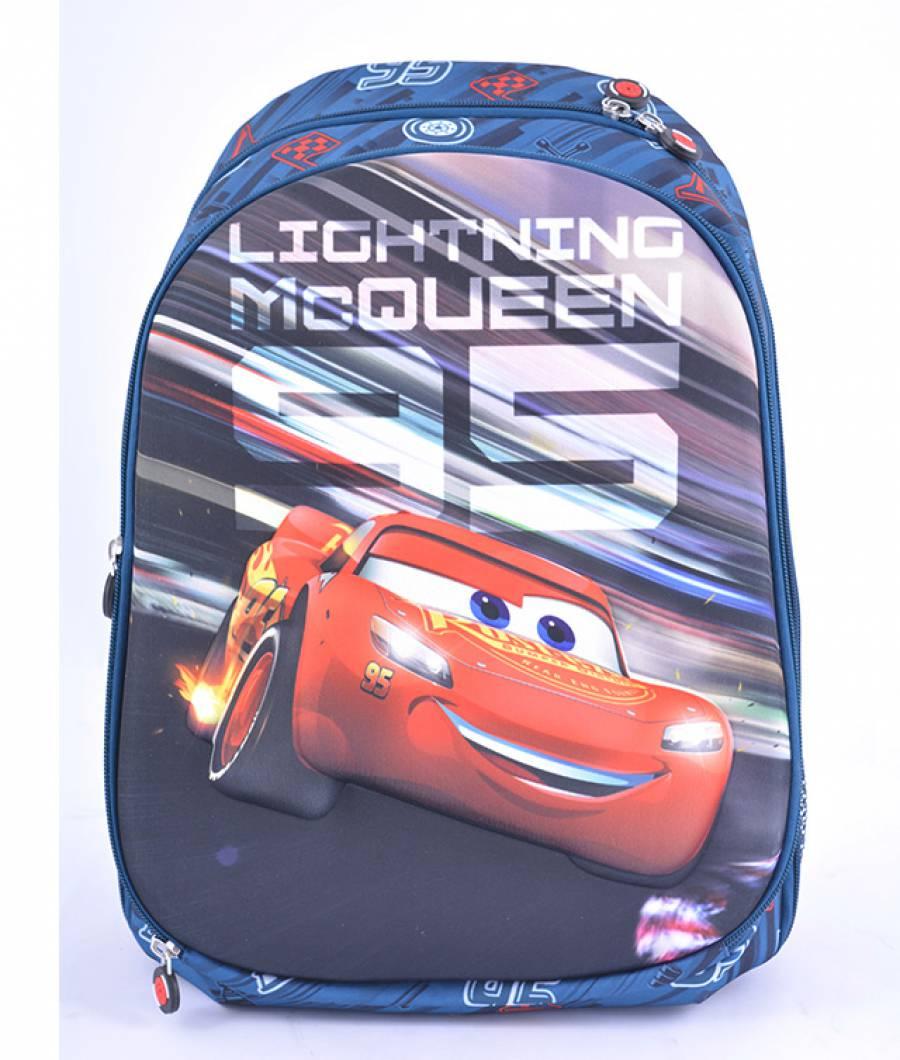 Ghiozdan, clasa 1/4, 3D, 2 fermoare, Cars 3 Gri Cars 3