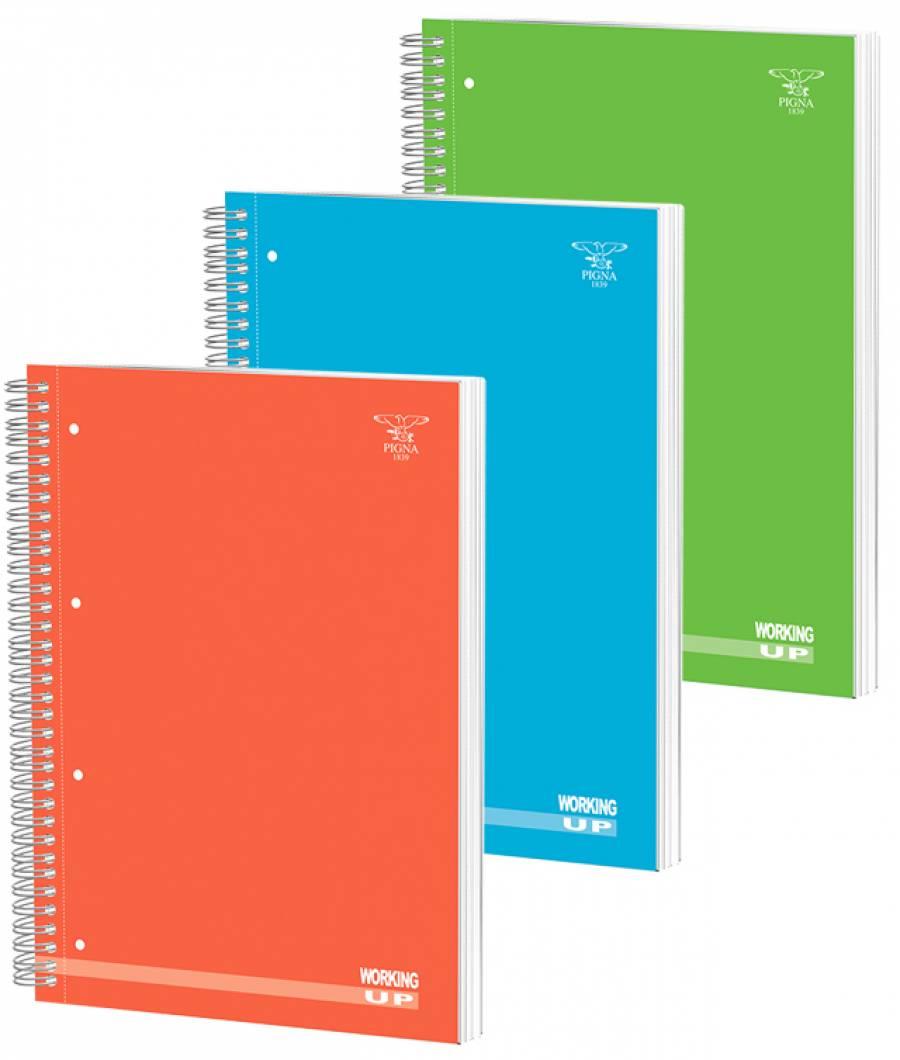 Caiet spira A4 140file, matematica, Cartonat /4 culori Fluorescent