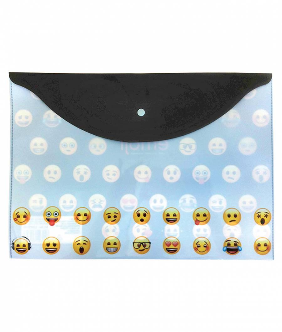 Mapa  plastic  cu buton A4, Emoji Clasic