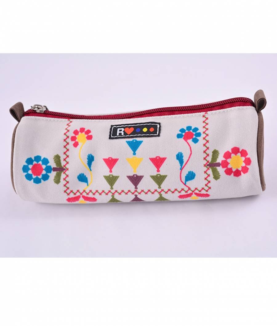 Penar Etui Tubular Traditional CANVAS bej-multicolor
