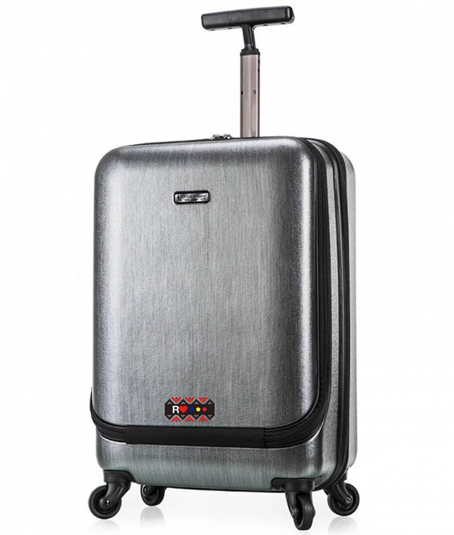 Valiza troller 62cm Policarbon+TSA ETHNO silver +buzunar lateral
