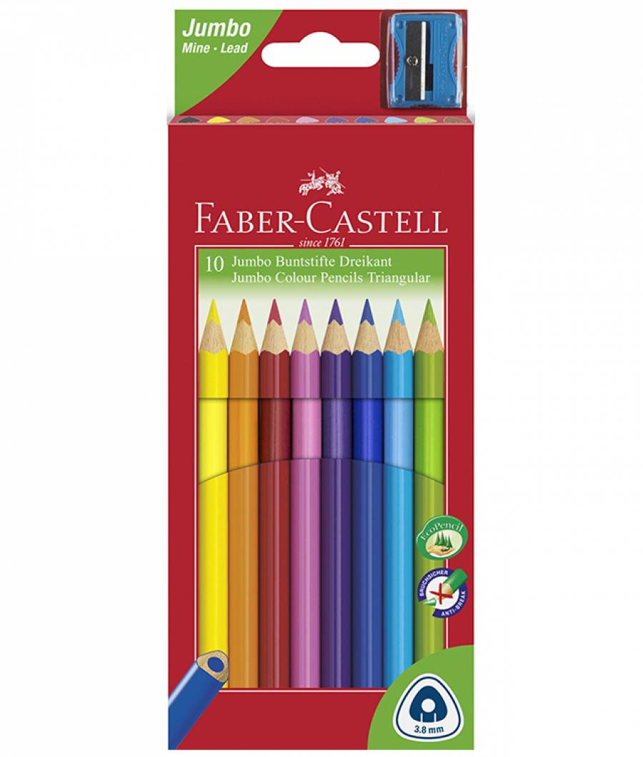 Creioane Colorate Jumbo + Ascutitoare Faber-Castell