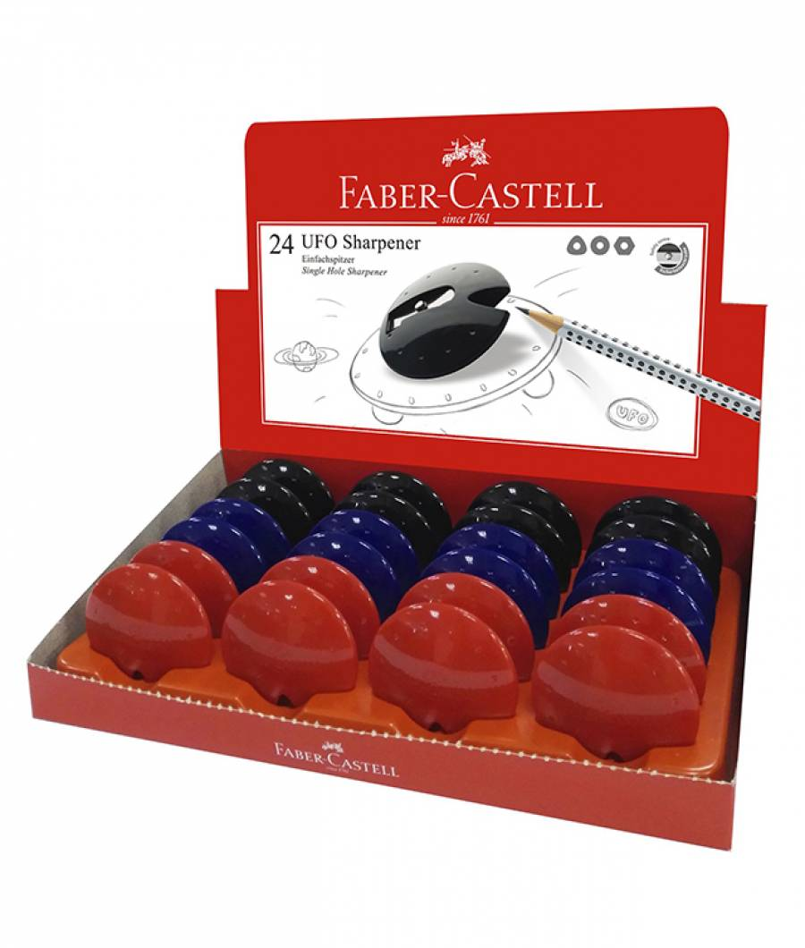 Ascutitoare Plastic Simpla Ufo Rosu-Albastru-Negru Faber-Castell