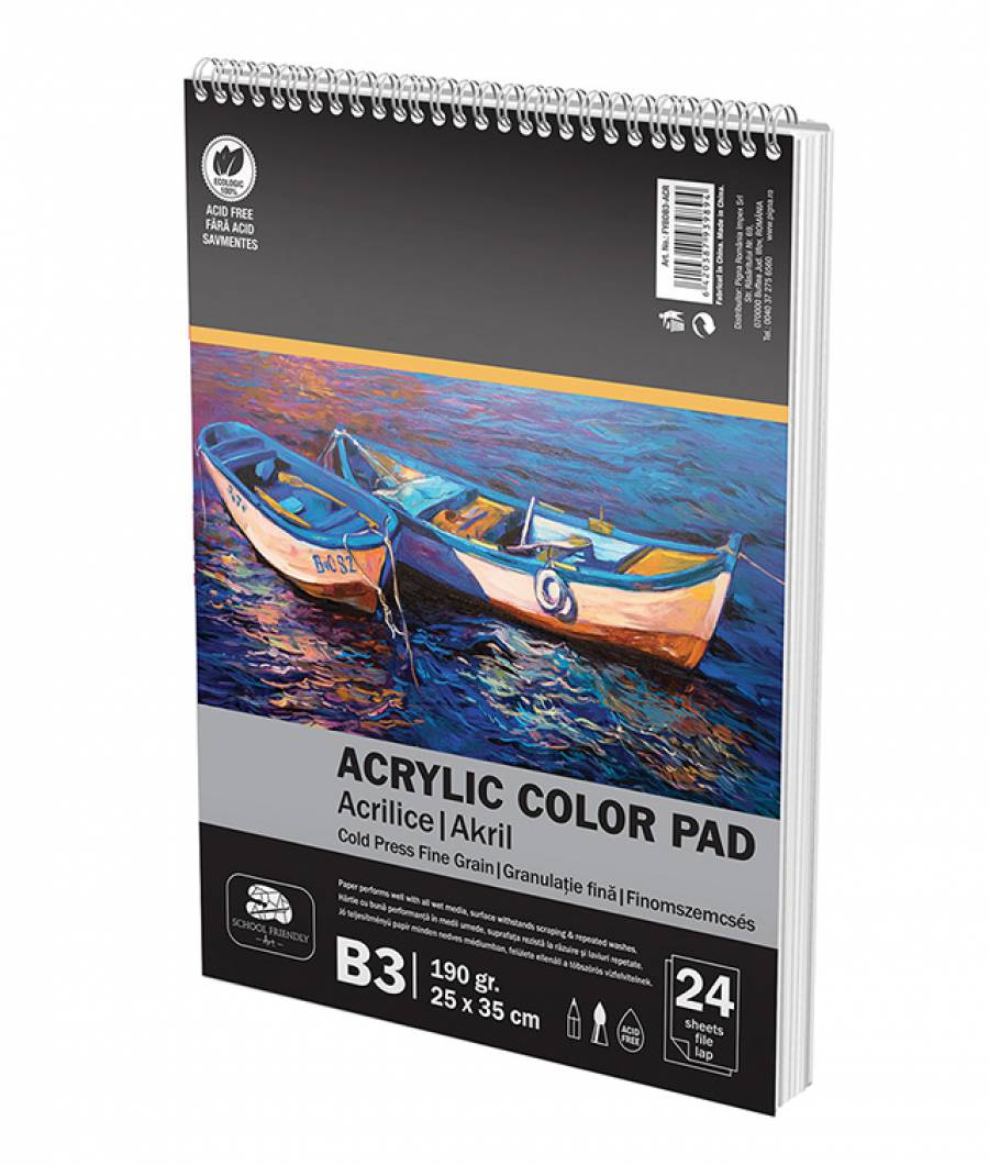 Bloc Desen Spira A3 190g 24file Culori Acrilice