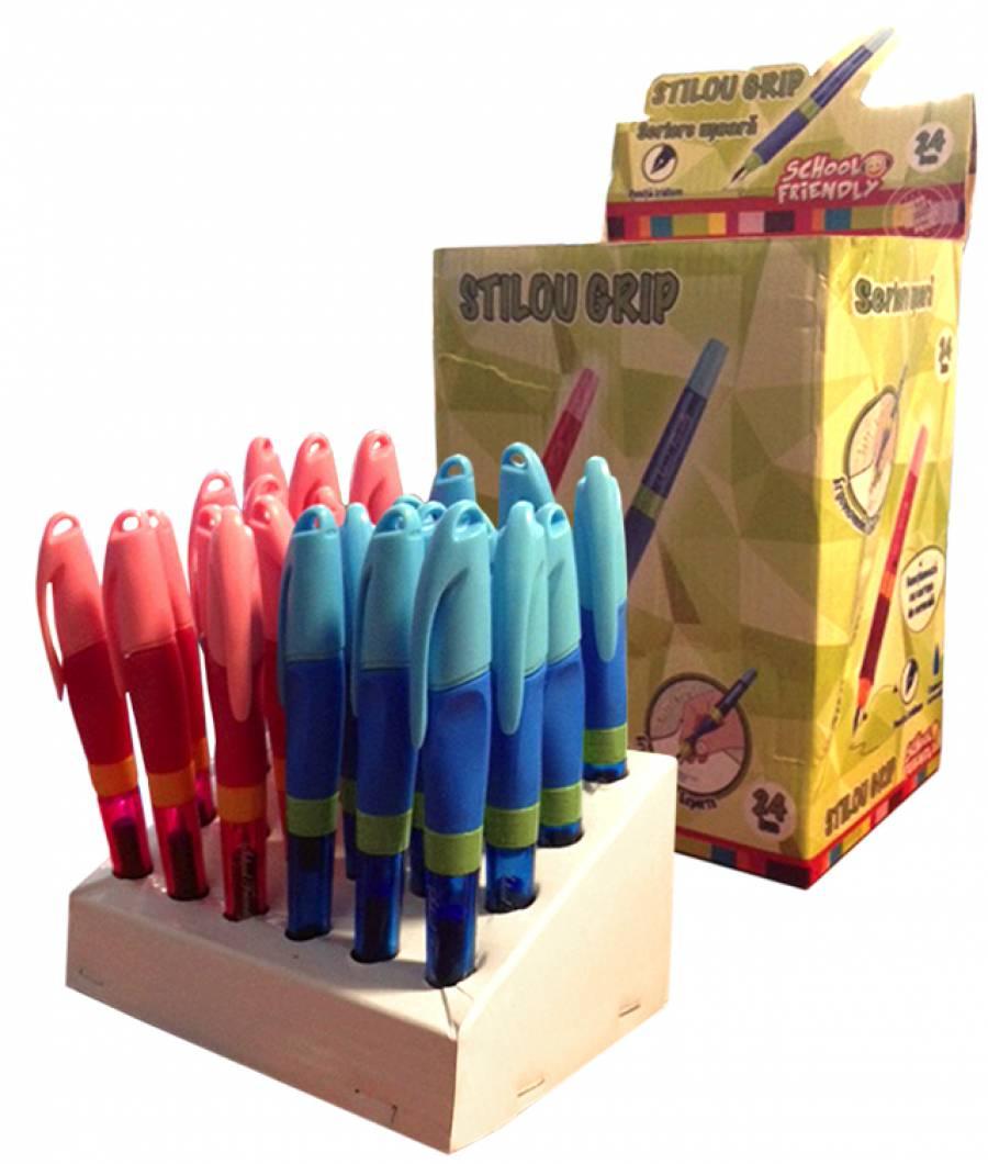 Cutie 24 Stilouri Clasic cu Grip ergonomic  (12 pt fete,12 pt baieti), Easy Writer