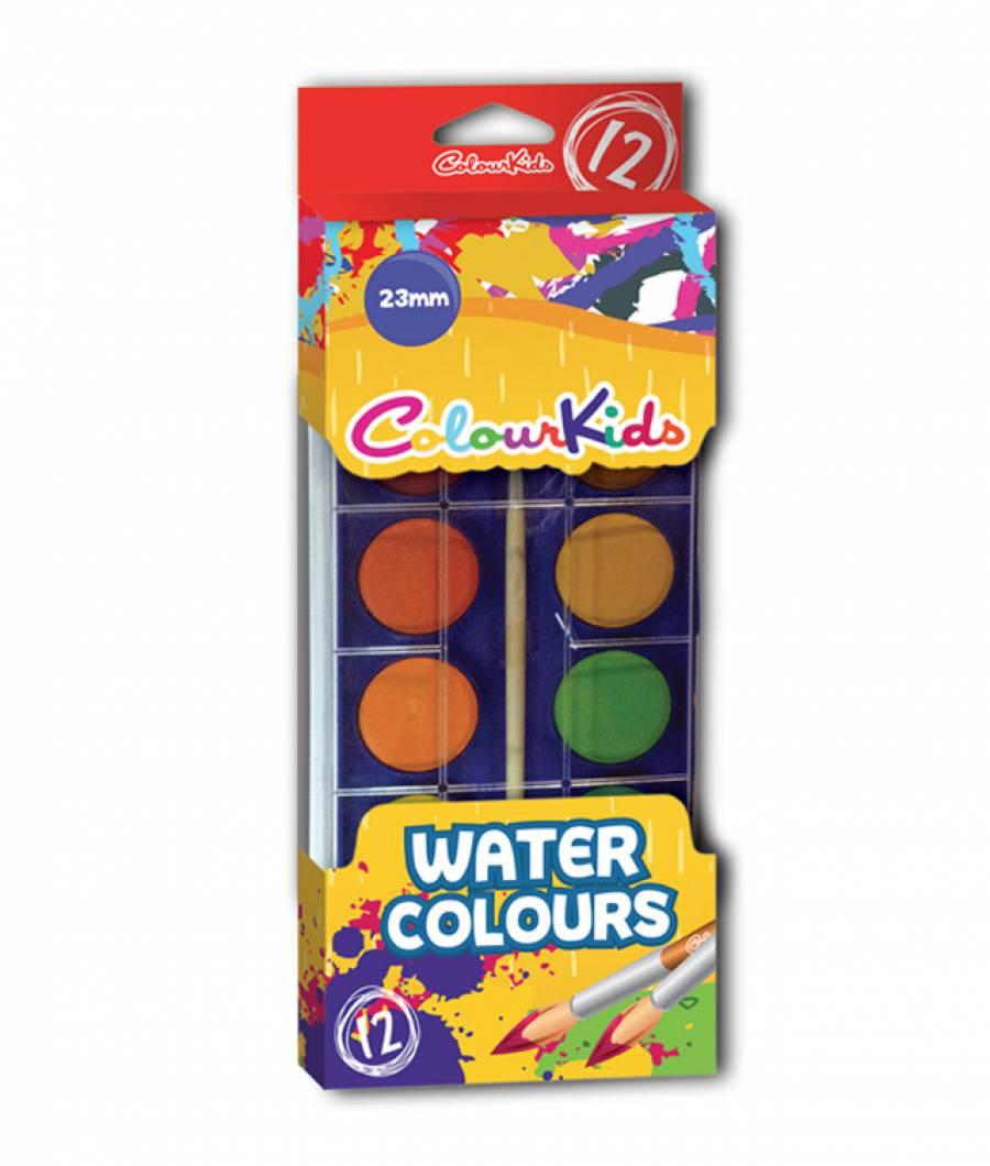 Acuarele semi-uscate 12 culori/set 23 mm ColourKids (cu pensula)