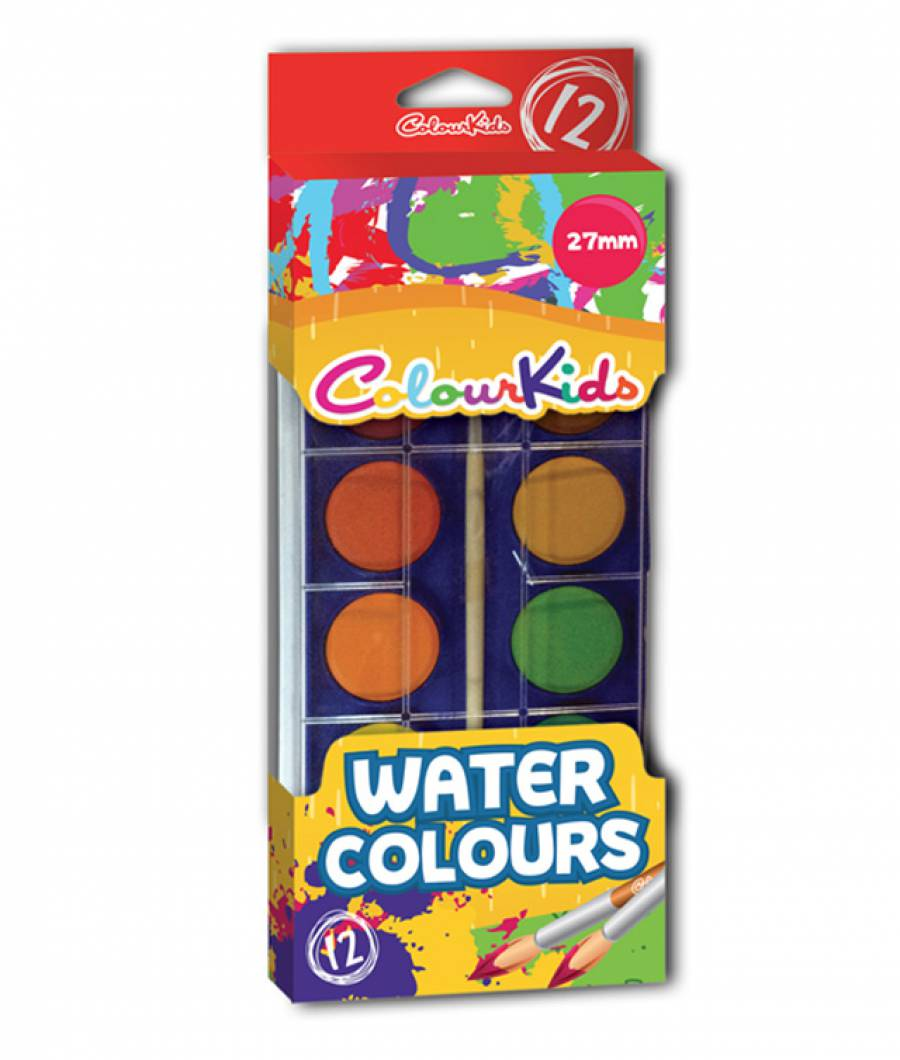 Acuarele.   12 culori  27 mm cu pensula Colour KIDS