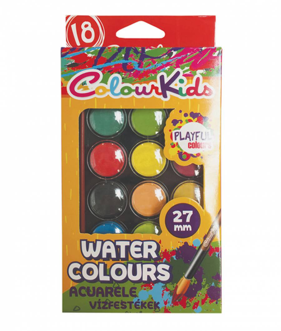 Acuarele.   18 culori  28 mm cu pensula Colour KIDS
