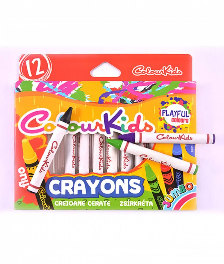 Creioane Cerate 12 culori Jumbo Colour KIDS