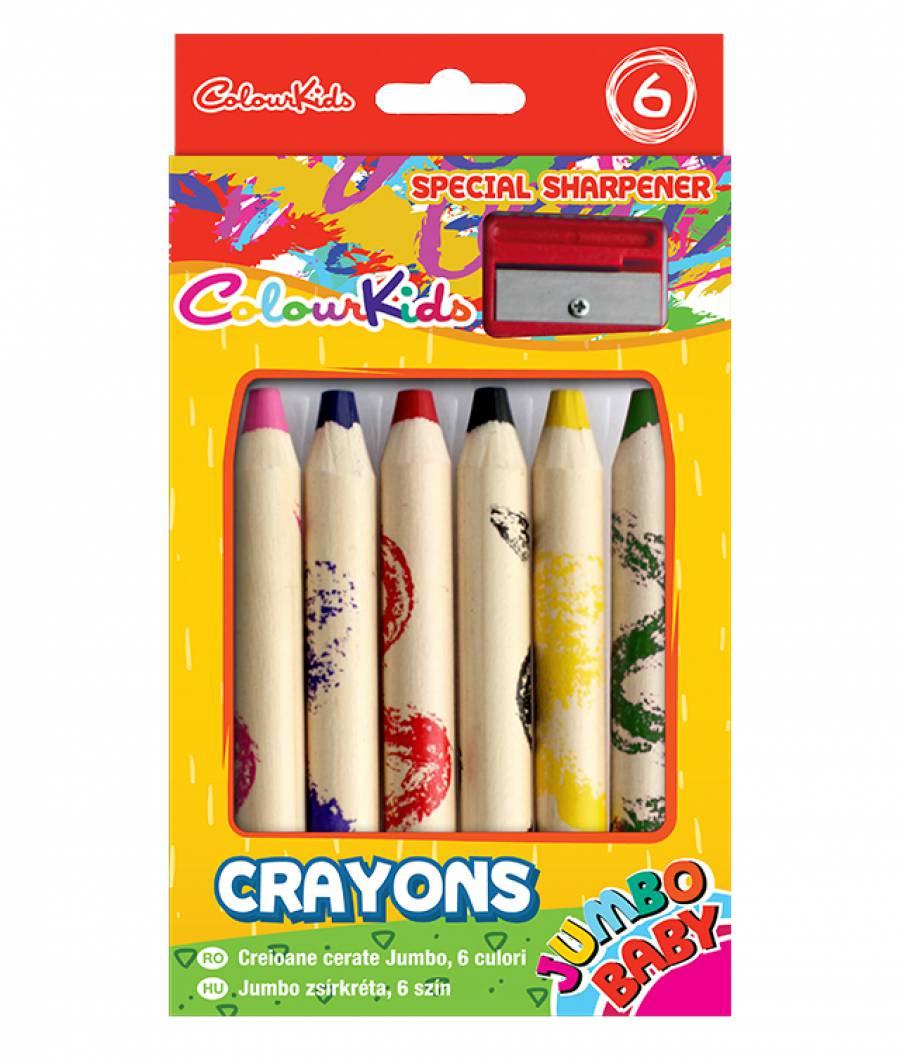 Creioane Cerate BABY Jumbo  set 12buc  cu ascutitoare Colour KIDS