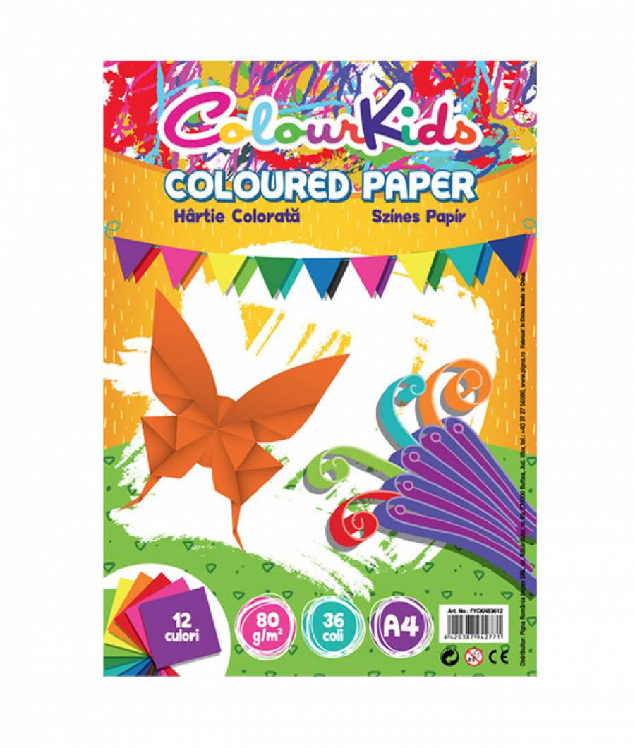Hartie color. A4 80gr 36 coli  12 culori Colour KIDS