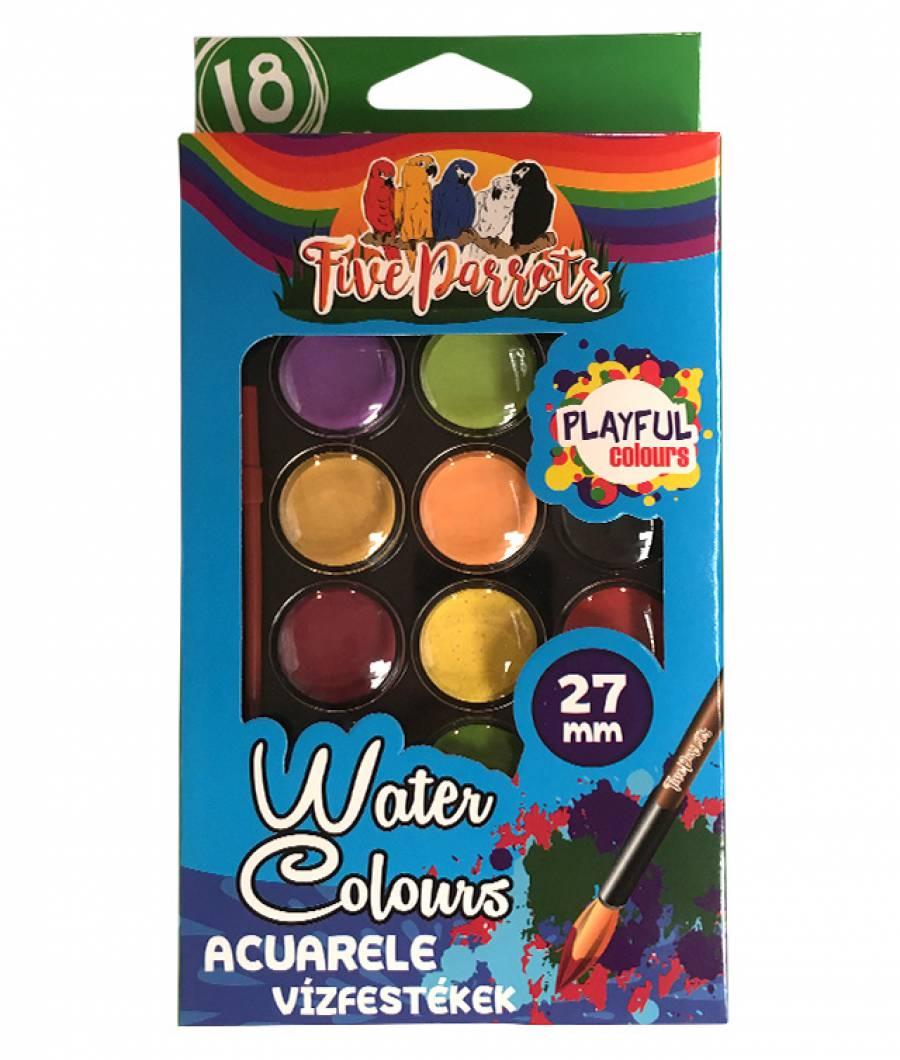 Acuarele semi-uscate 18 culori/set, cu pensula, Five Parrots