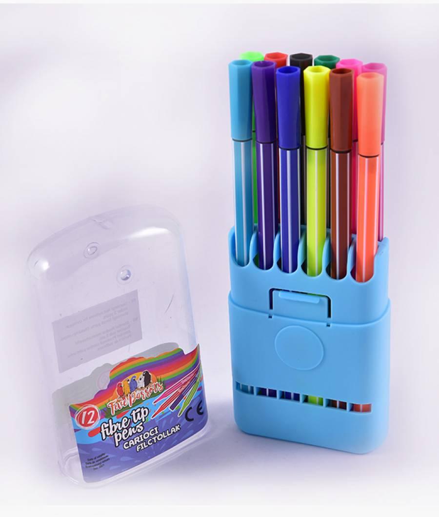 Carioci cutie plastic 12 culori  Five Parrots