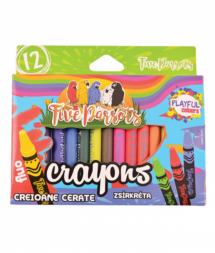 Creioane Cerate 12 culori Jumbo Five Parrots