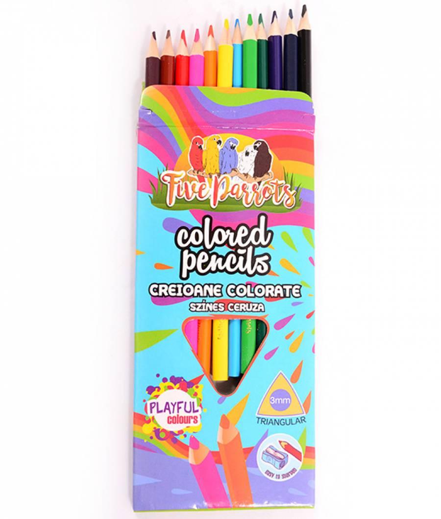 Creioane Color. FP 12 culori Triunghiulare 3 mm  Five PARROTS