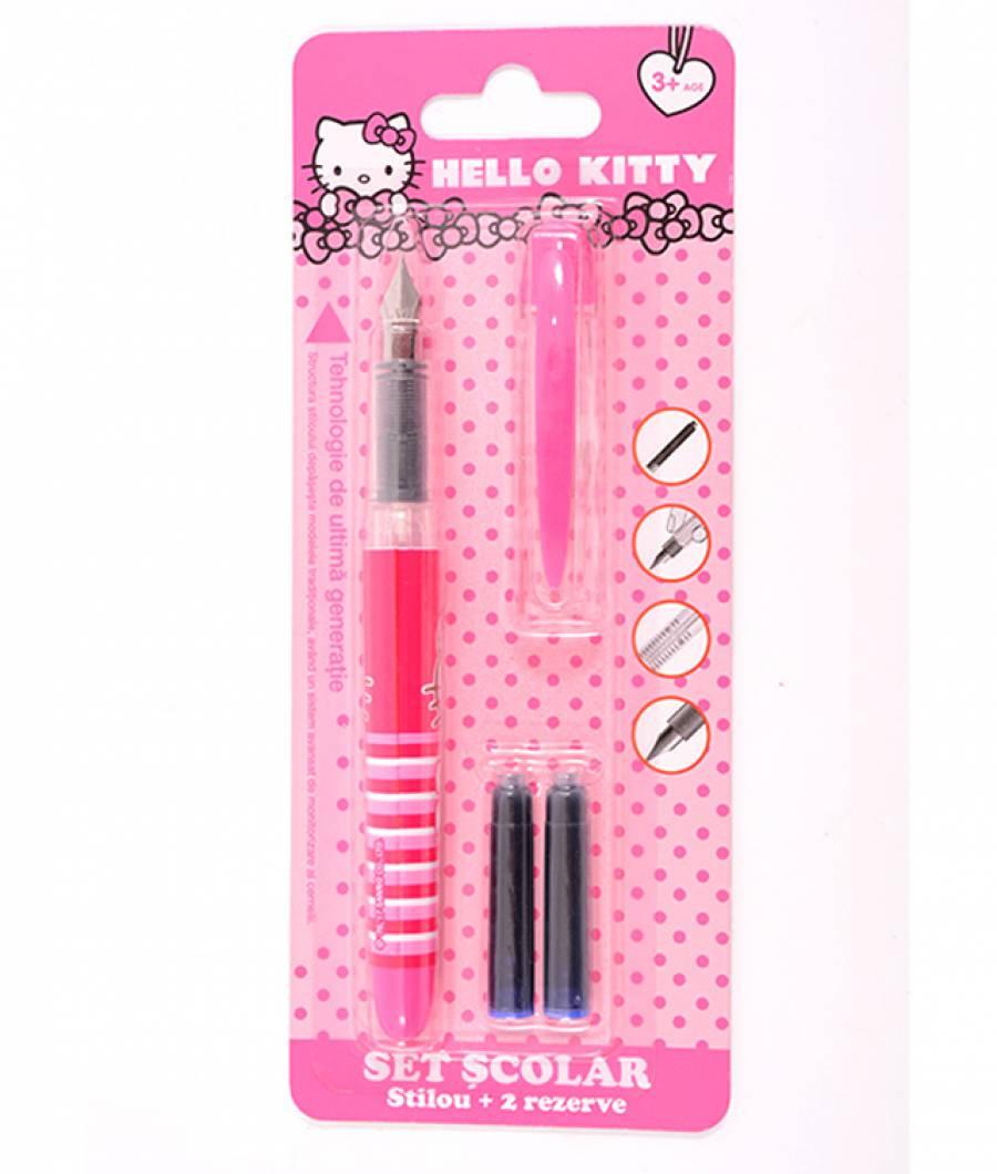 Blister Stilou Basic , cu 2 rezerve, Hello Kitty