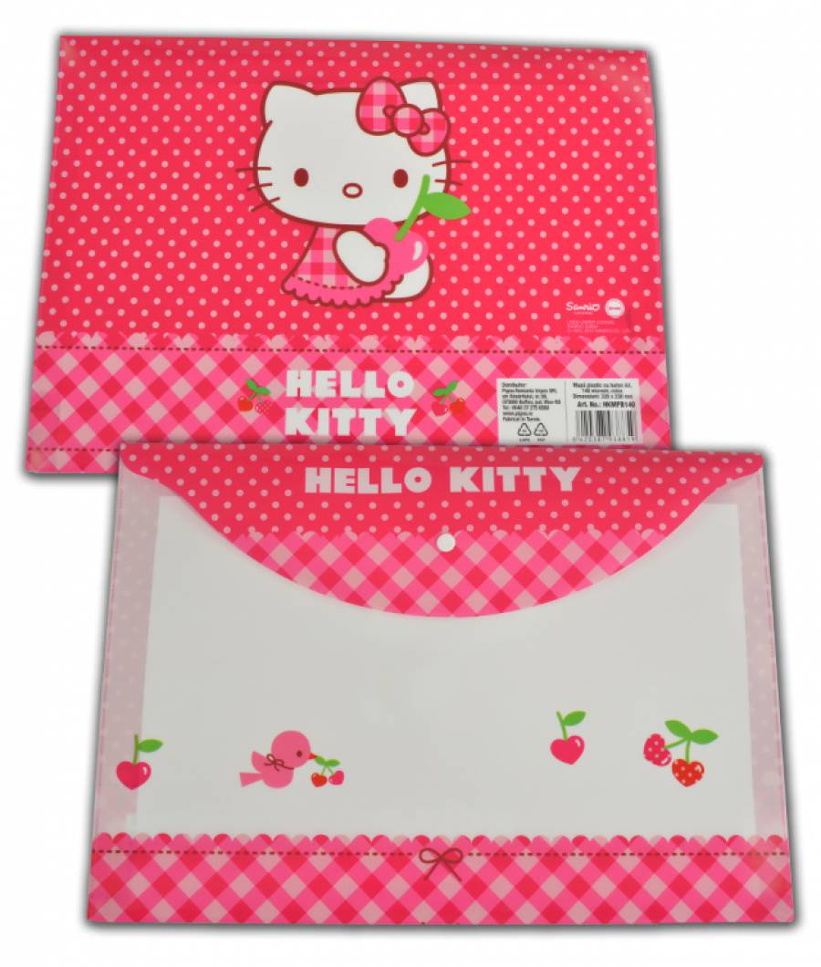 Mapa  plastic  cu buton A4, Hello Kitty