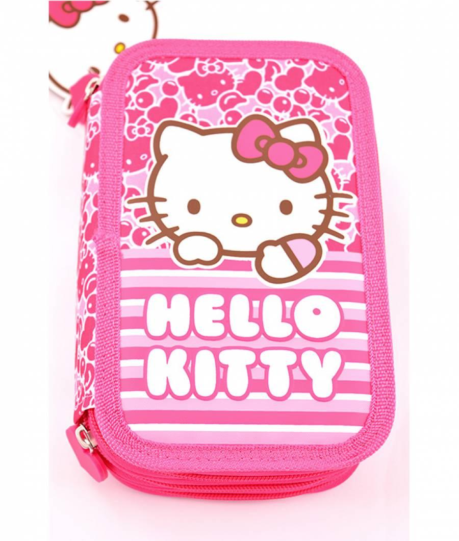 Penar Neechipat 3 fermoare Hello Kitty Roz Dungi Hello Kitty