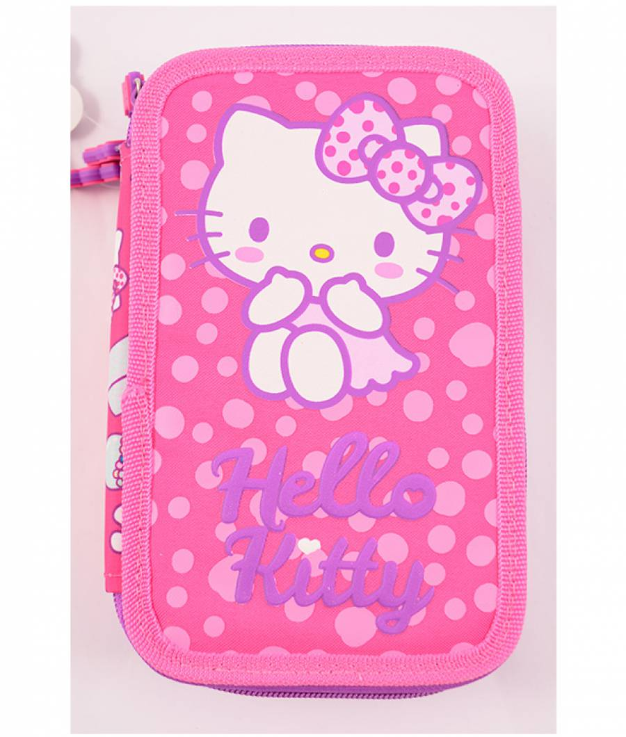 Penar Neechipat 3 fermoare roz inchis Hello Kitty