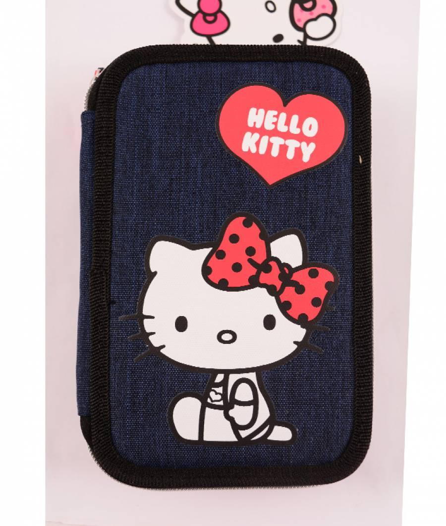 Penar Neechipat 3 fermoare Denim albastru Hello Kitty