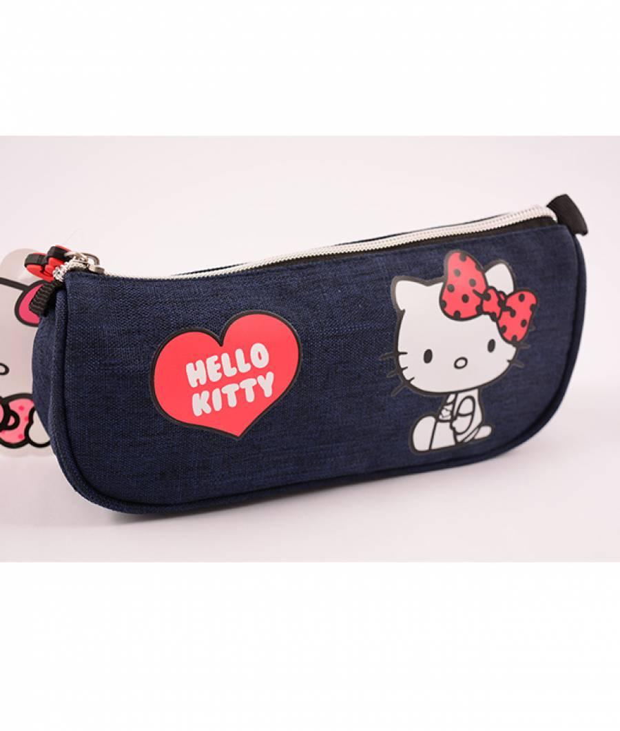 Penar Etui Triunghiular Denim albastru Hello Kitty