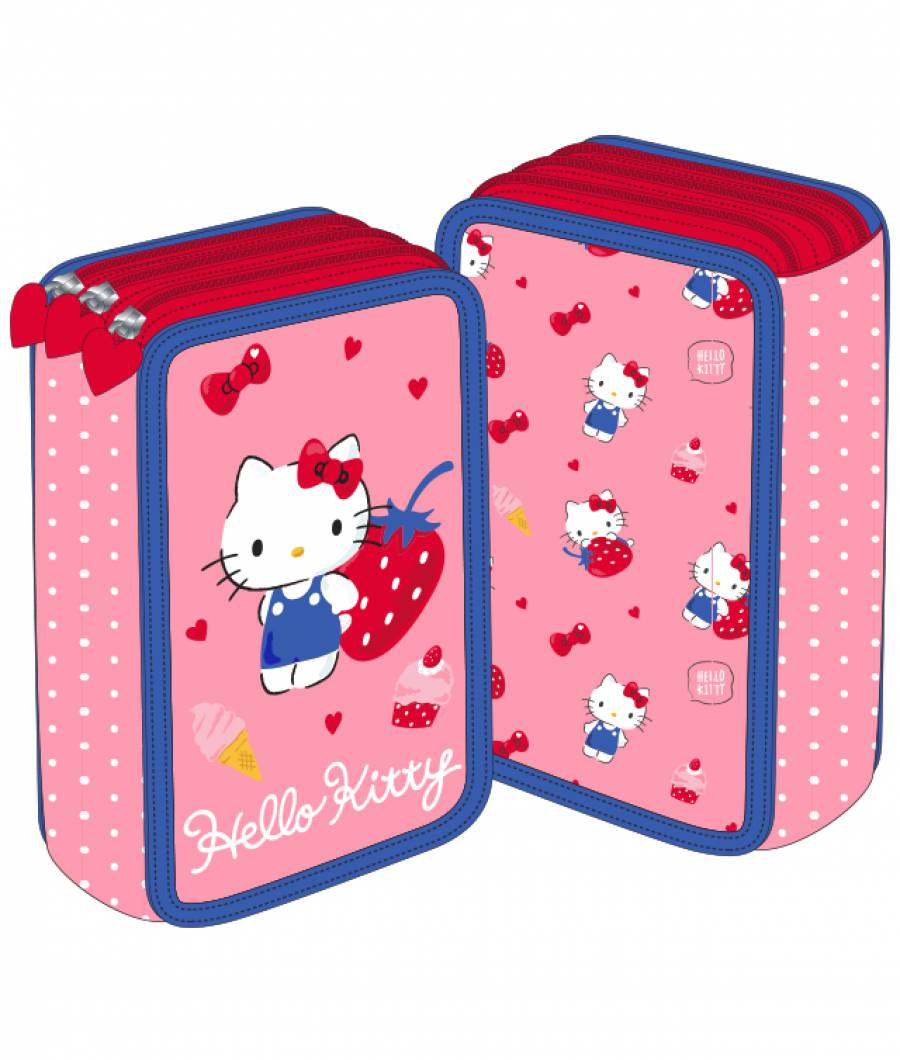 Penar 3 fermoare roz capsuni Hello Kitty