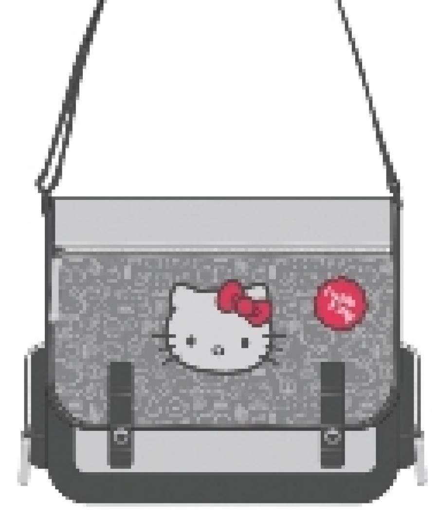 Geanta de umar dreptunghiulara Hello Kitty Gri