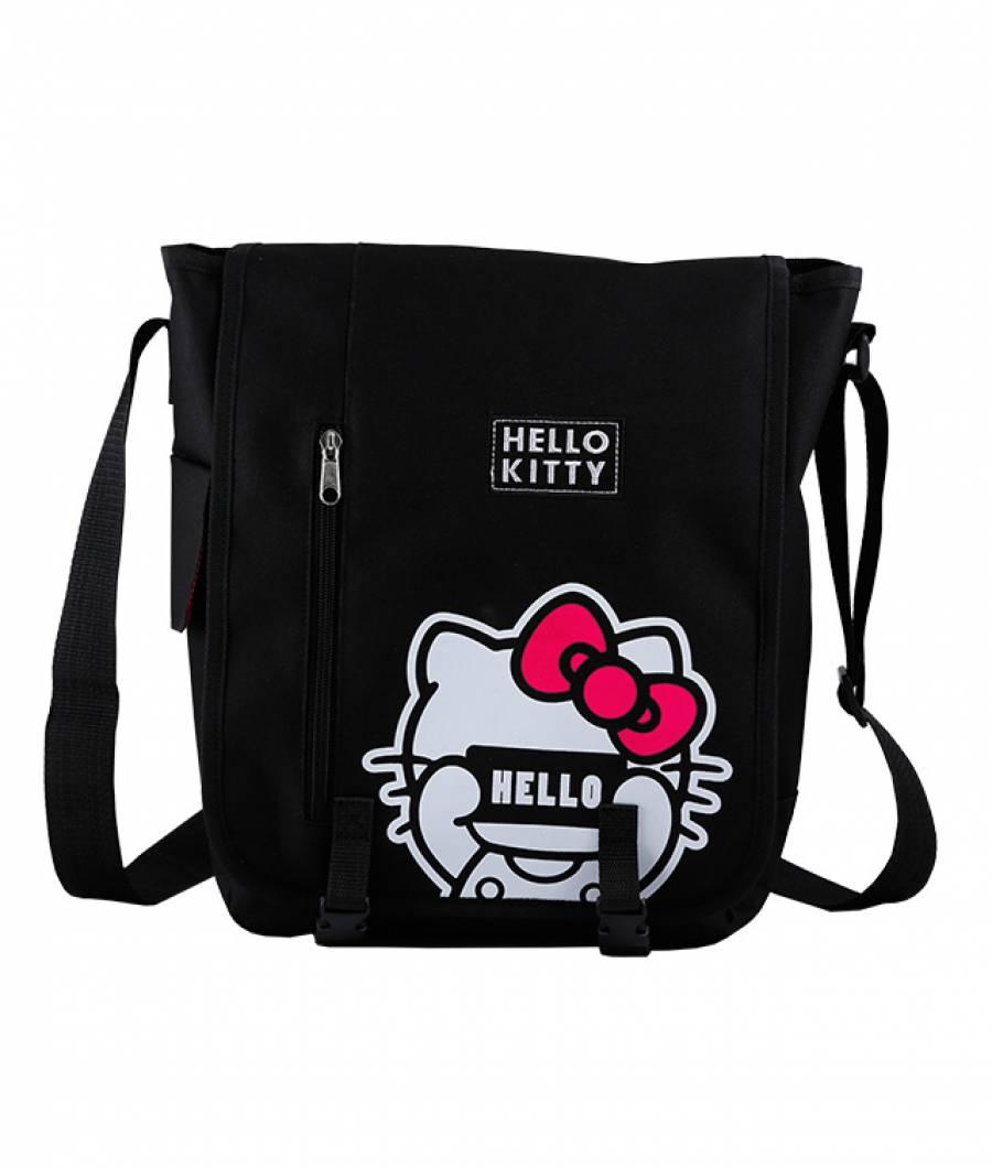 Geanta de umar patrata Hello Kitty Negru