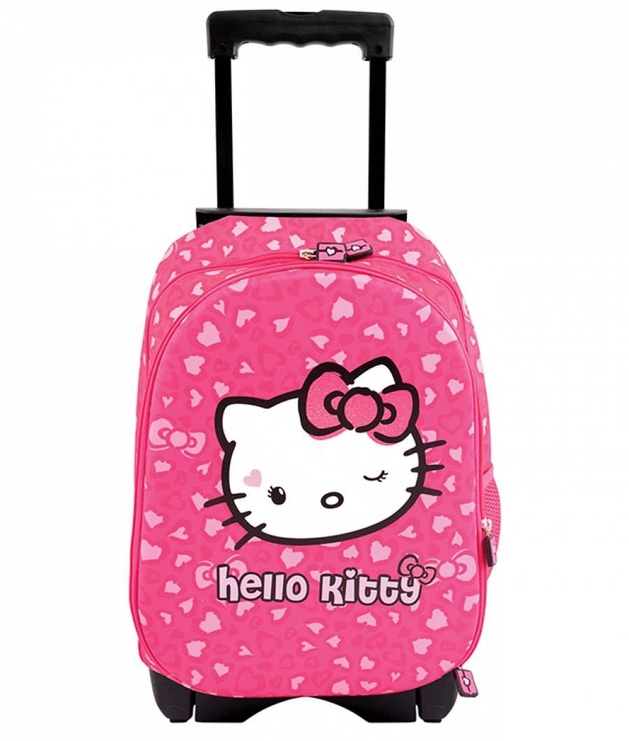 Ghiozdan Troller , 2 fermoare , Hello Kitty Roz
