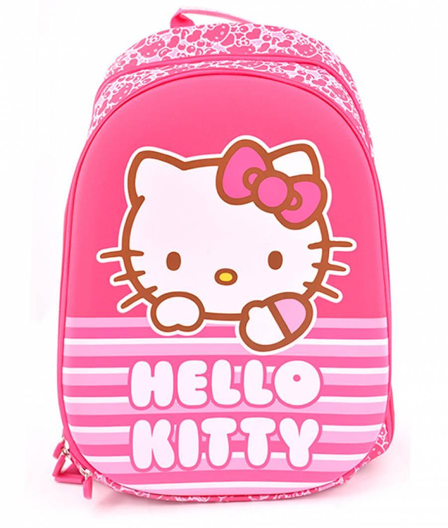 Ghiozdan, clasa 1/4, 2 fermoare, Hello Kitty Roz Dungi