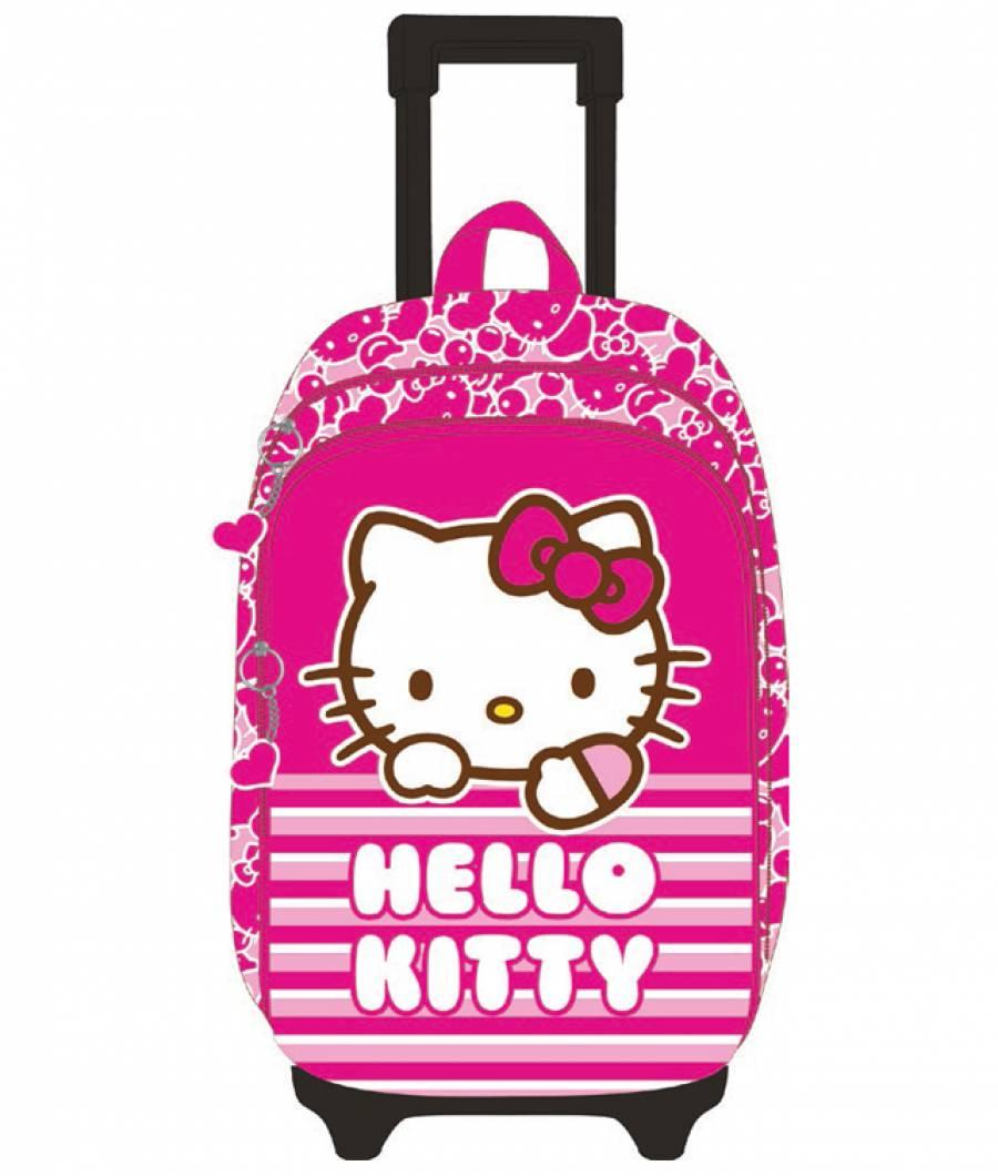 Ghiozdan Troller, clasa 1/4, Hello Kitty Roz Dungi Hello Kitty