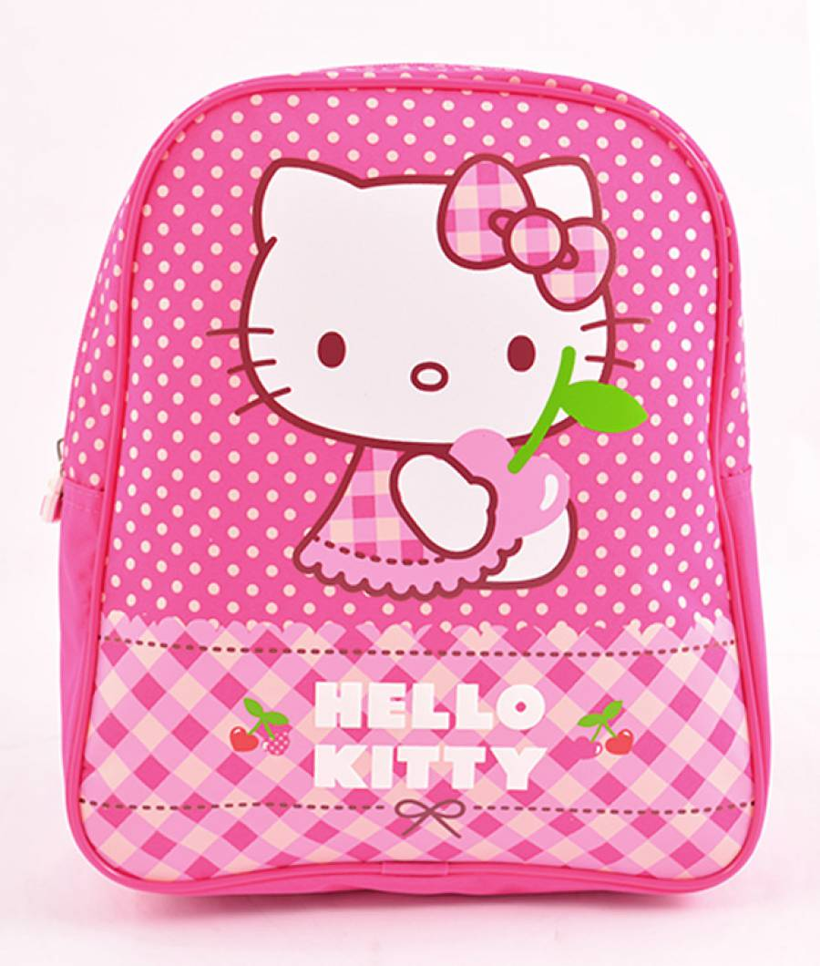 Mini Ghiozdan Gradinita Hello Kitty Roz cu buline