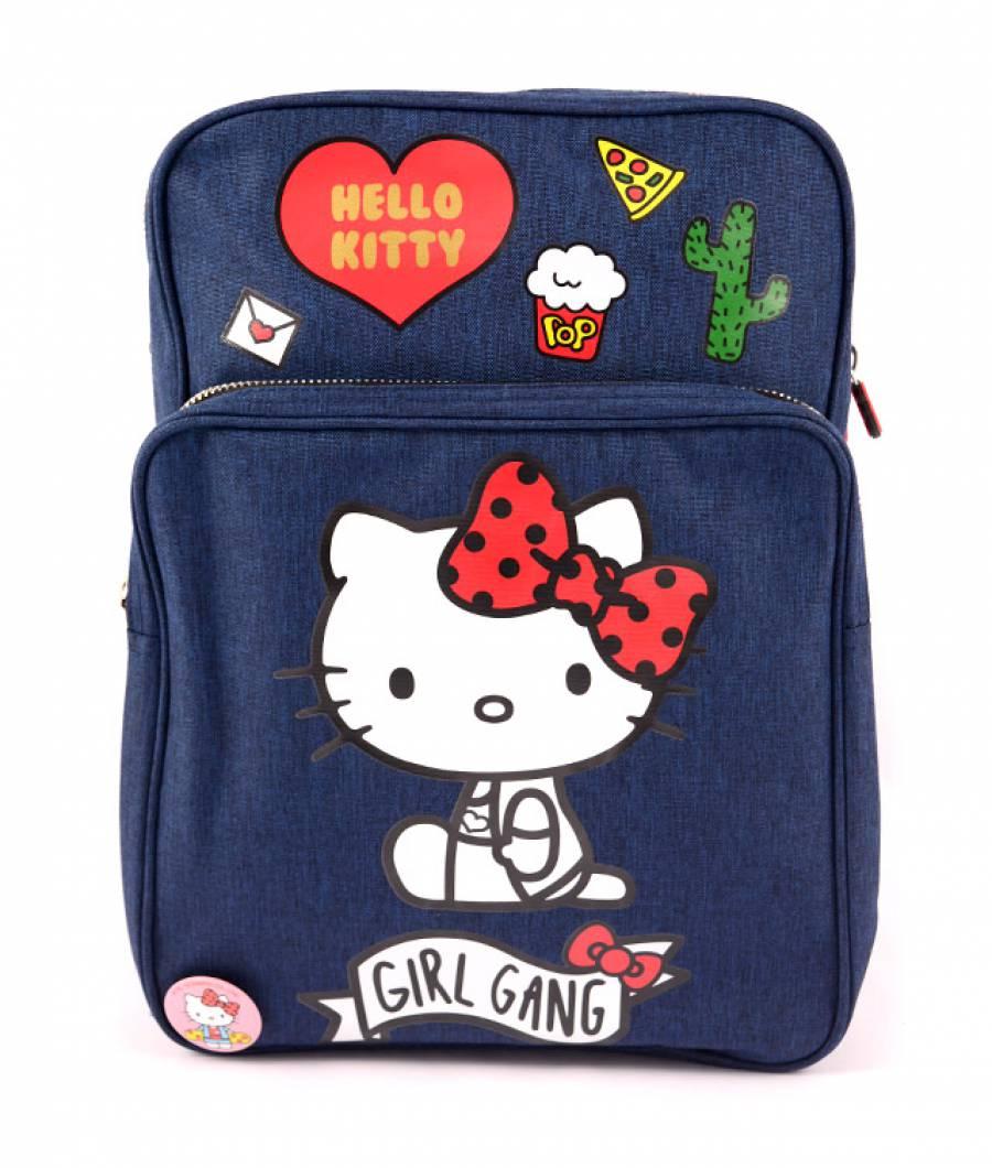 Ghiozdan Denim albastru badge-uri Hello Kitty