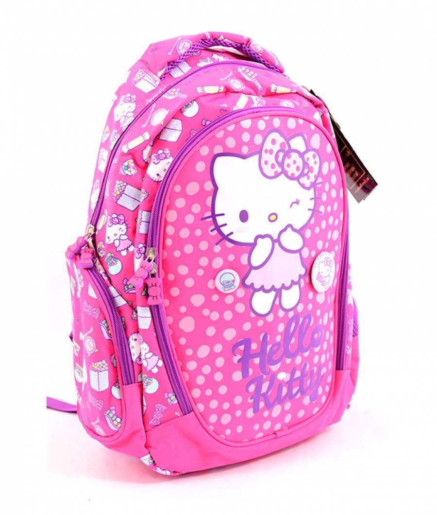 Ghiozdan clasa 1/4, roz inchis Hello Kitty