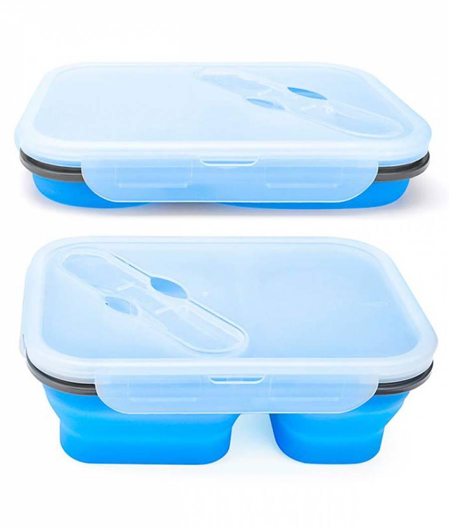 Cutie sandwich pliabila 3 compartimente albastru