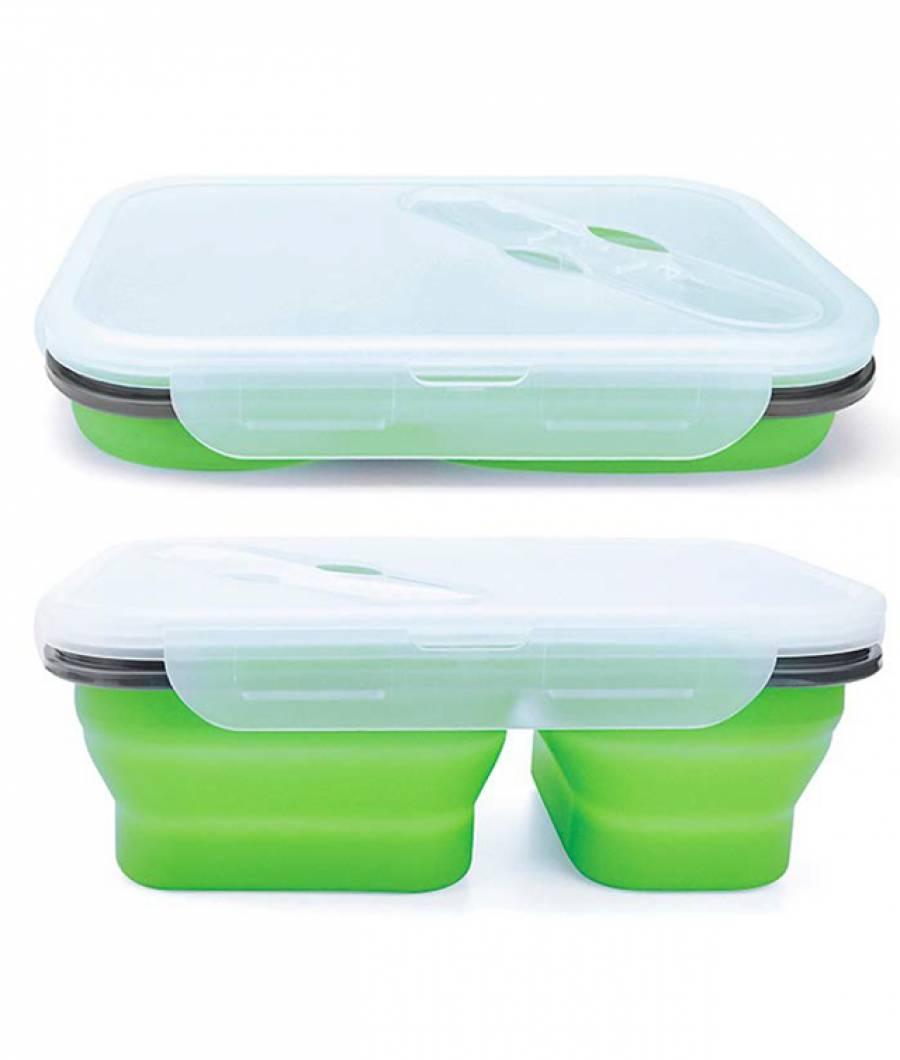 Cutie sandwich pliabila 3 compartimente verde