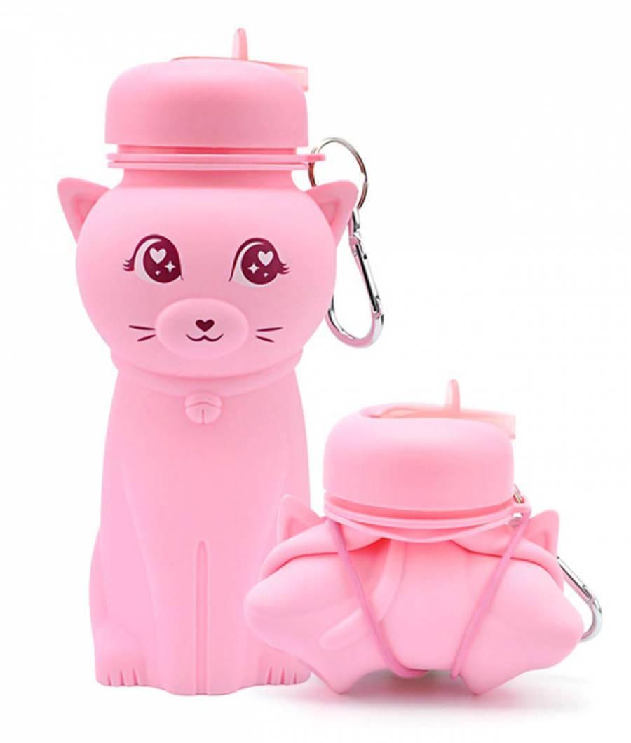 Sticla Lichide PREMIUM silicon 500 ml Pisica roz deschis