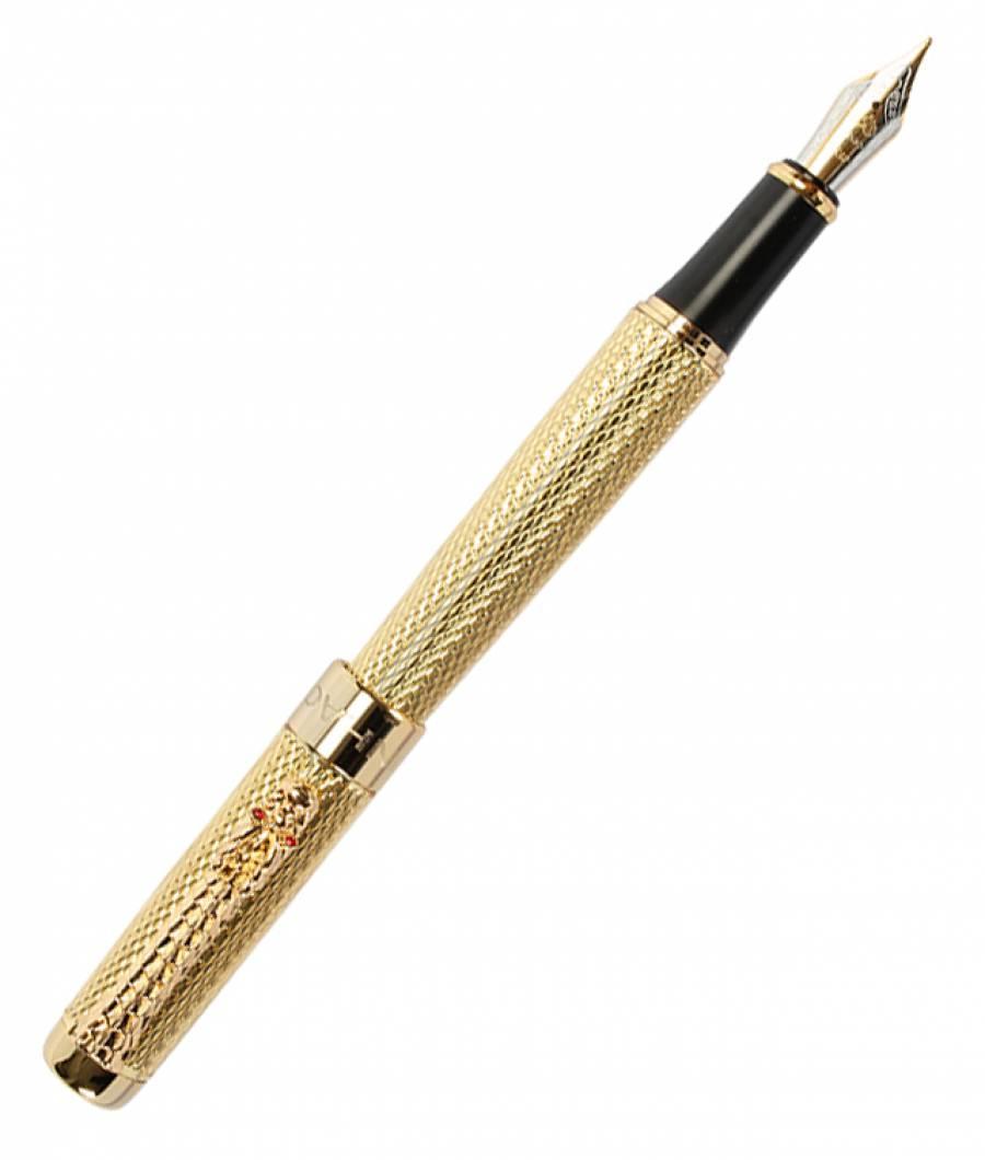 Stilou DRAGON argintiu auriu Penita Iridium  GOLD