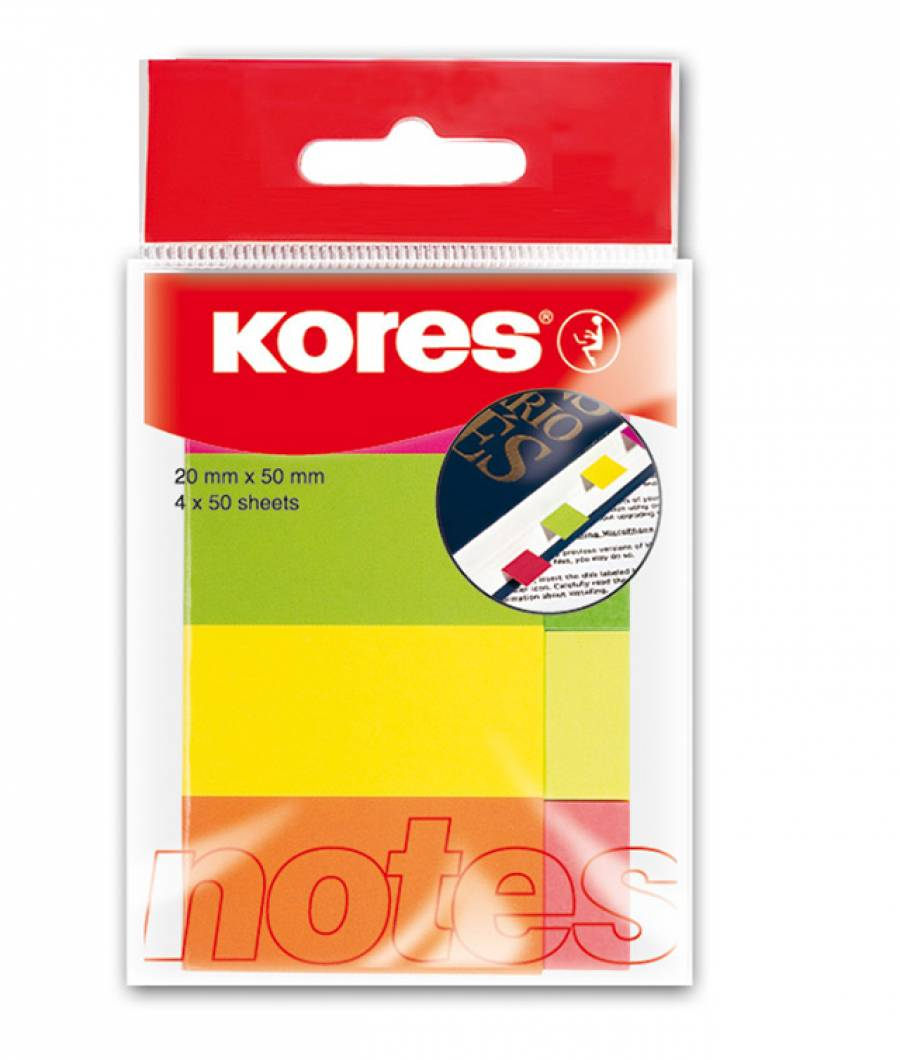 Notes Adeziv 20 x 50 mm 4 Culori x 50 File Kores