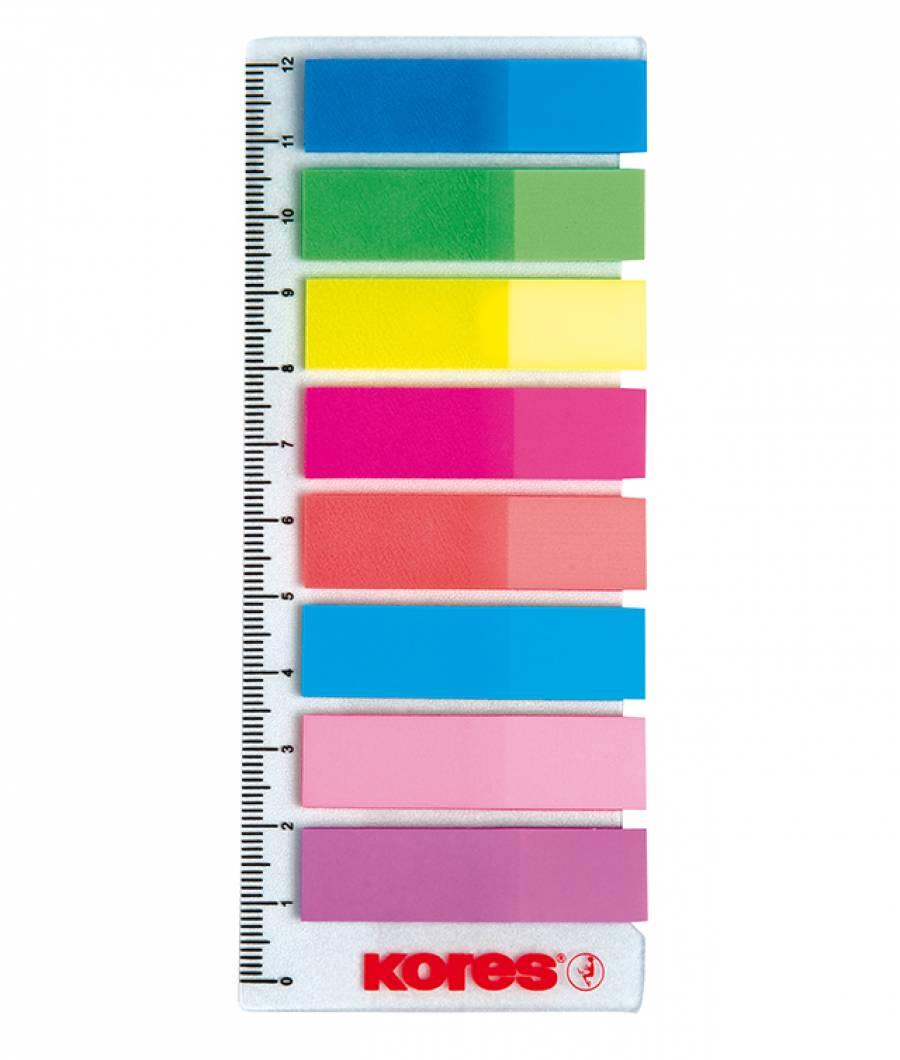 Index Plastic Reinscriptibil 12 x 45 mm 8 Culori x 15 File Kores