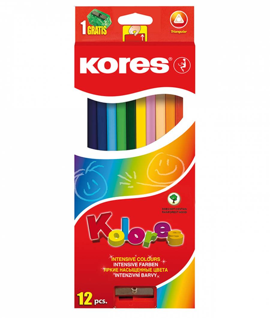 Creioane Colorate 12 Culori cu Ascutitoare Triunghiulare Kores
