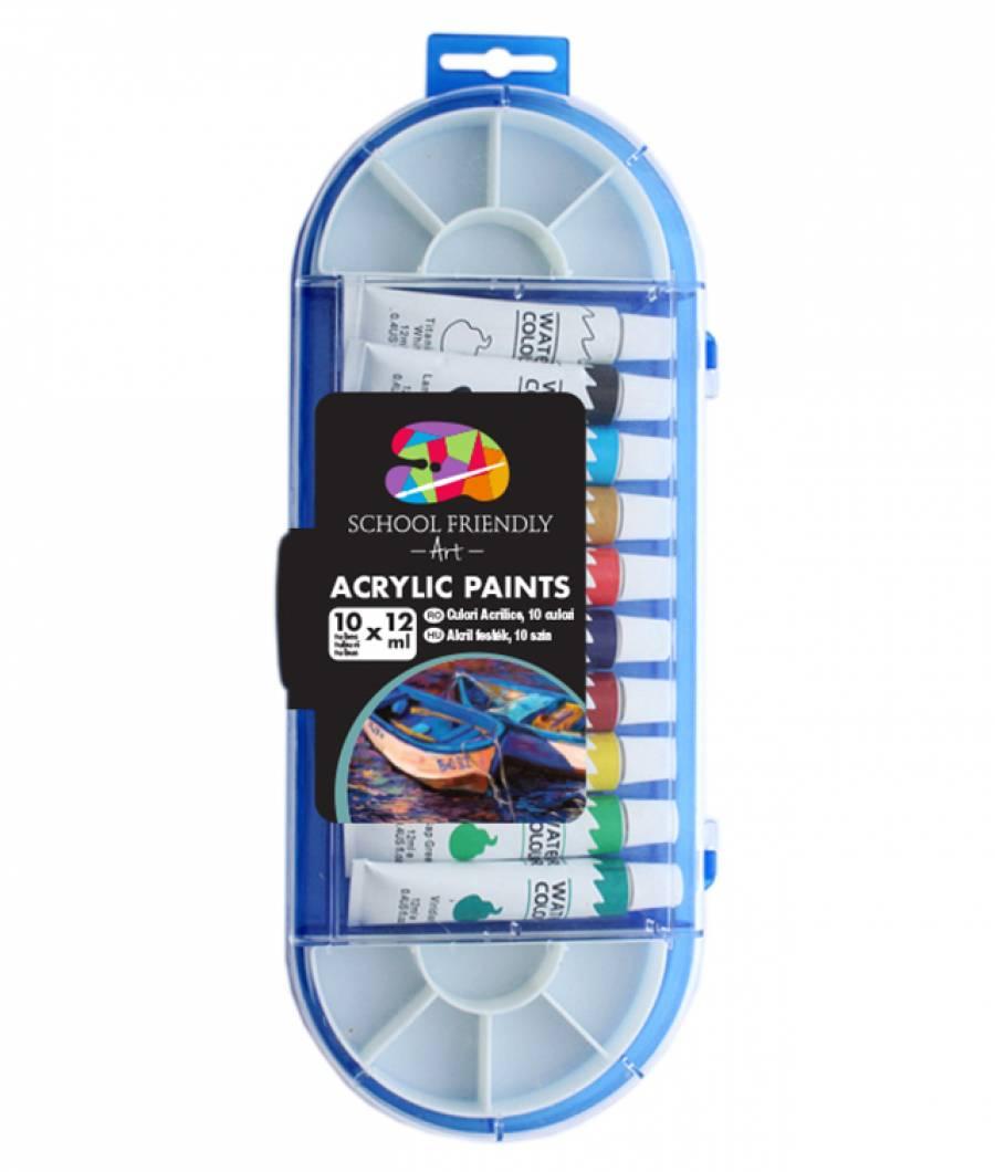 Acrilic SF ART 10culori 12ml tub metal pensula paleta pictura