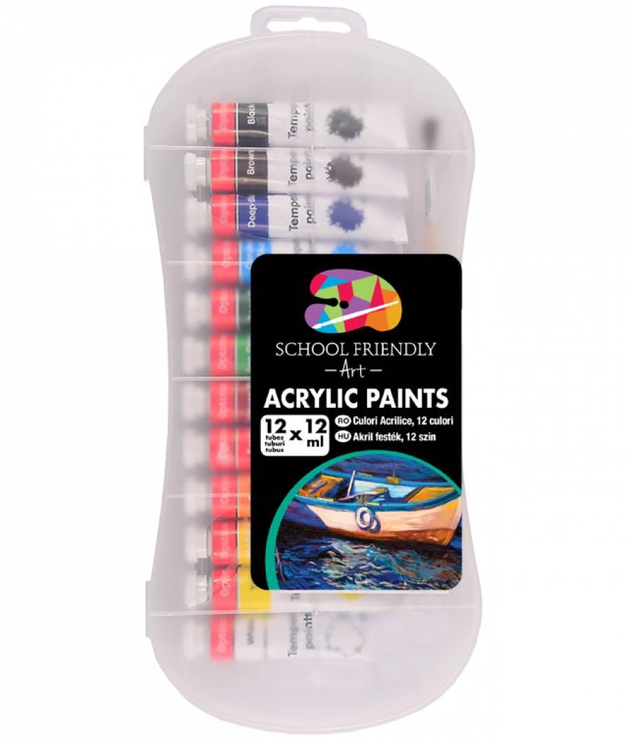 Acrilic SF ART 12culori 12ml tub metal cutie plastic