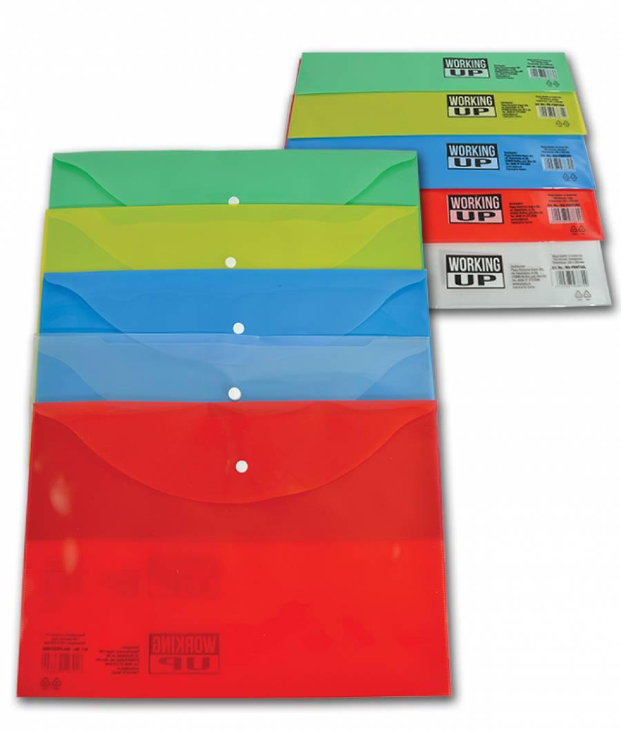 Mapa  plastic  cu buton A4, WUP 140mic Transparent