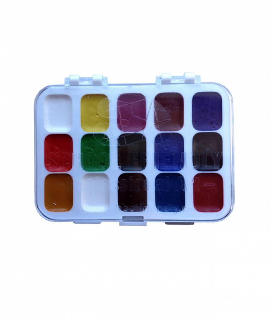 Acuarele semi-uscate 15 culori/set