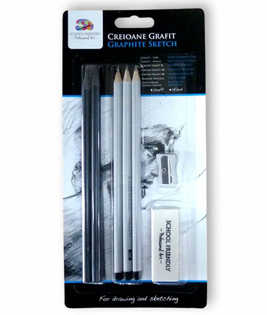 Blister 5 creioane grafit dur.dif, 1 radiera, 1 ascutitoare